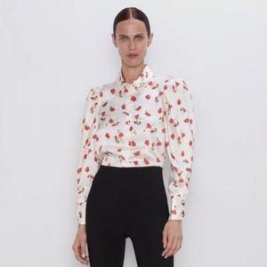 Zara cream floral blouse size XS